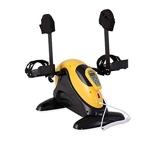 Iahshion Eléctrica Portable de la Bicicleta estática, Mini motorizado Cycling Trainer con el Monitor LCD Brazo/Pierna del Pedal Ejercicio Rodilla para Mayores minusválidos