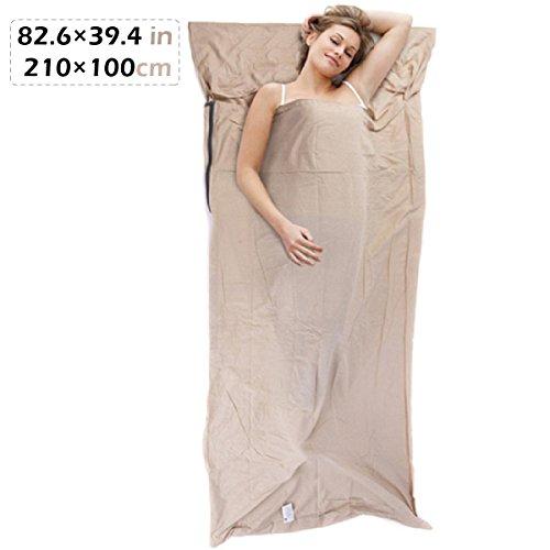 TRIWONDER Sleeping Bag Liner Travel Camping Blatt für Hotel, leichte Baumwolle Schlaflaken Innen für Sleepsack (Leinen - 82,6 x 39,4 Zoll)