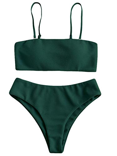 ZAFUL Damen Texturiert Spaghetti-Träger Gepolstert Bandeau Bikini Set (Grün, S)