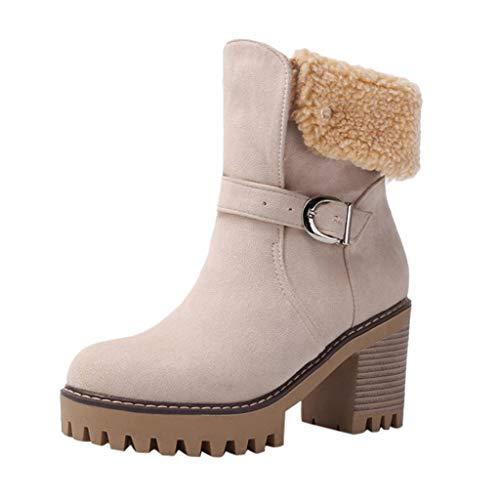 Allence Frauen Winter Warme Stiefel Platz High Heel Schnalle Ankle Bare Boots Casual Booties Winterschuhe Stiefeletten