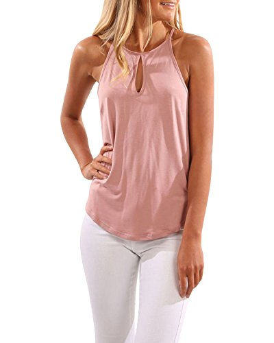 CNFIO Camisetas Tirantes Mujer Blusa Top Sin Mangas Cami Tank Tops De Casual para Mujer Rosa-1 EU40