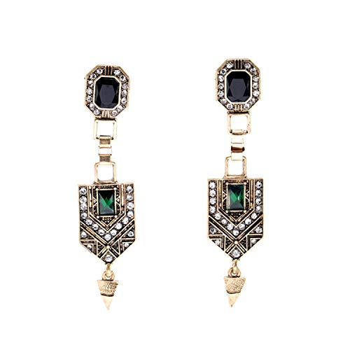 Sunwd Mujer Pendientes, Vintage Jewelry Women New Green Crystal Cone Ear Pendants Long Drop Earrings Factory Wholesale Green Antique Gold Plated