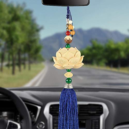 Espejo de coches colgante colgante Pendiente de madera de coches nuevos talla escultura Lotus espejo...