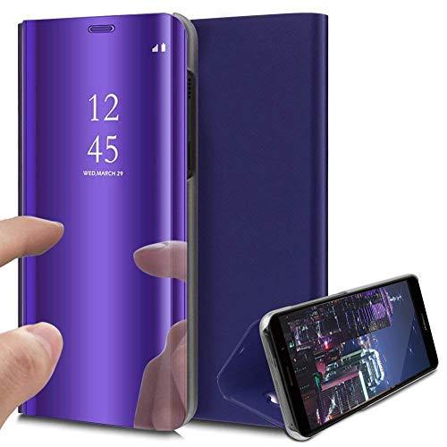 HMTECH Sony Xperia XZ Coque Clear View Etui Cuir Miroir Mirror Makeup Coque étui Cuir Housse Coque Couverture avec Fonction Stand pour Samsung Sony Xperia XZ,Purple Mirro PU