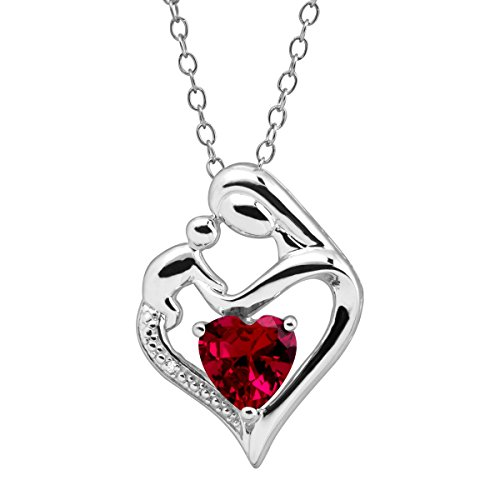 Created Ruby Mother and Child Heart Pendant w Diamond in Silver (.003 cttw, I-J Color, I3 Clarity), 18'