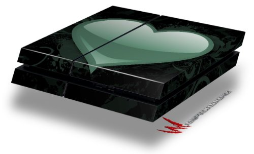 Glass Heart Grunge Seafoam Green - Decal Style Skin fits original PS4 Gaming Console
