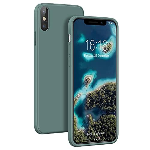 JASBON Ultra-Thin Hülle Kompatibel mit iPhone X/XS, Lightweight Liquid Silikon Hülle,Stoßfeste Full Protection Case, Resistant Slim Handyhülle für iPhone X/XS 5.8 inch (Pine Green)