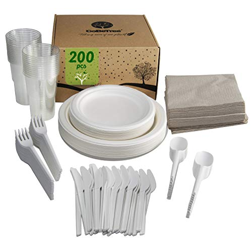 Stoviglie monouso da 200 pezzi per 25 persone. Confezione di stoviglie di canna da zucchero biodegradabile Include 50 piatti, 25 forchette, 25 coltelli, 25 cucchiai, 25 bicchieri e 50 tovaglioli.