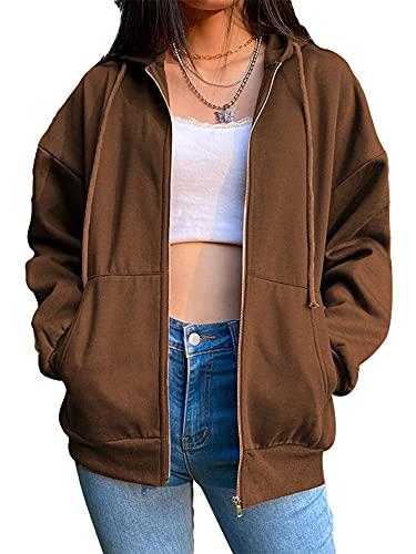 Tekaopuer Sudadera con capucha para mujer, manga larga Y2k E-Girl Streetwear Chaquetas vintage oversize sudadera Jumper, marrón, XL