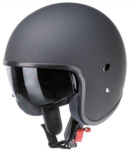Casco Jet Slim pequeño negro mate redbike visera parasol interior microfibra homologado ECE X Moto Biker Custom L negro mate