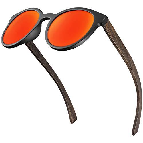 Balinco® Bambus Sonnenbrille mit runden, polarisierten Gläsern - im praktischen Zubehör-Set inkl. Geschenke-Box - mit UV400 Schutz & TAC-Linsen - für Damen & Herren geeignet (Rot verspiegelt)