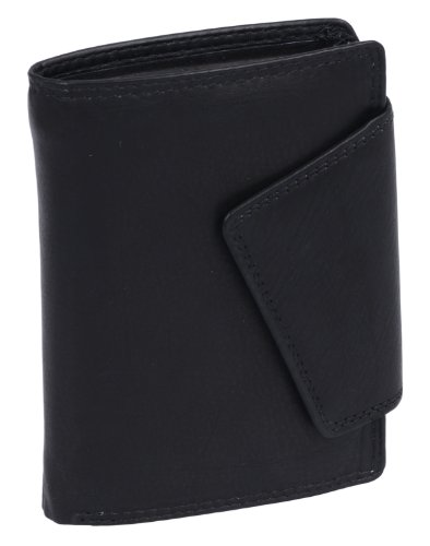 LEAS LEAS Damenbörse im Hochformat mit RFID Schutz Echt-Leder, schwarz Ladies-Collection''