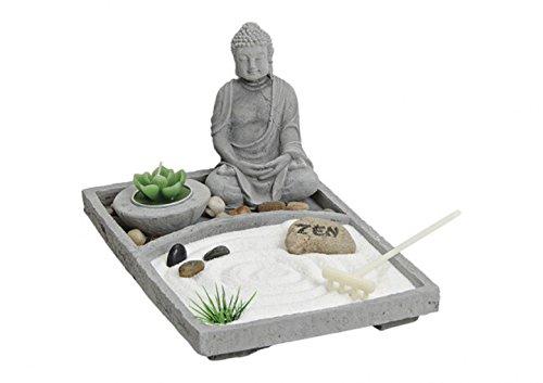 Jardín ZEN Buda Set, fabricado en gris hormigón con muchos accesorios, tamaño 24x 16x 15cm