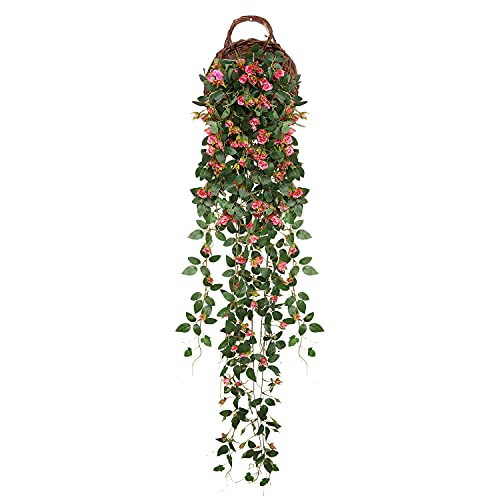 JUSTOYOU Artificial Rose Vine Flowers, 5FT Garland Fake Hanging Flower Greeny Chain Wall Home Room...