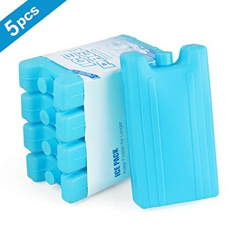 AGOER 5 Blocks Kühlbox Kühlbox Eisbrot wiederverwendbar 400 ml für Kühltasche oder Kühlbox für Arbeit, Picknick, Camping