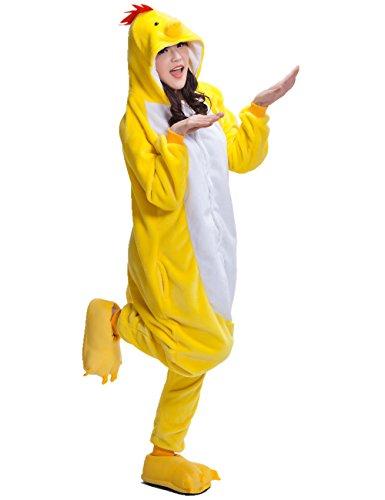 UreeUine Herren adult huhn kigurumi tierkostüm pyjamas homewear lounge wear groß gelb