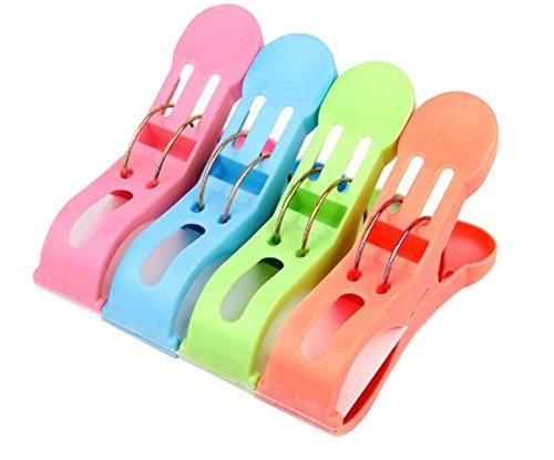 CAOLATOR 4 Pcs Pinces à Linge Plastique Couleurs Clips Durable Plastique Grand Taille Clips Serviettes Quilt Clips(Bleu+Rose+Vert+Orange)