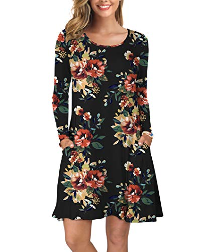 KORSIS Women Long Sleeve Tops T-Shirt Dress Round Neck Casual Loose Dress Brown Flower Black 2XL