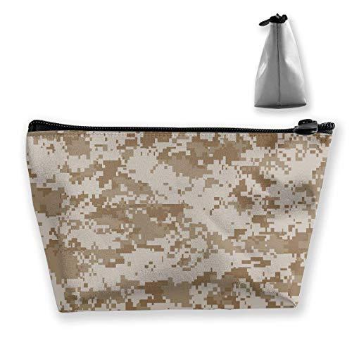 Digital Desert Camo Make-up-Tasche Große trapezförmige Aufbewahrung Reisetasche Waschen Kosmetikbeutel Stifthalter Reißverschluss Wasserdicht