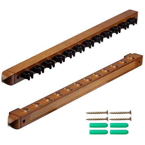 GSE Games & Sports Expert 6/8/12 Pool Cue Wall Mounted Rack. Billiard Cue Sticks Wall Rack (Several Colors Available) (12 Cue - Oak)