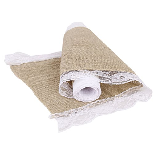 Pixnor 2,2 M Jute hessienne dentelle Craft ruban nappe pour bricolage Crafts mariage décoration (Beige)