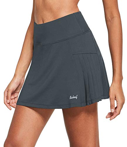 BALEAF Women's Athletic Pleated Running Skirts with Mesh Shorts Ruffle Golf Tennis Yoga Skorts Ball Pockets Miniskirt Grey S
