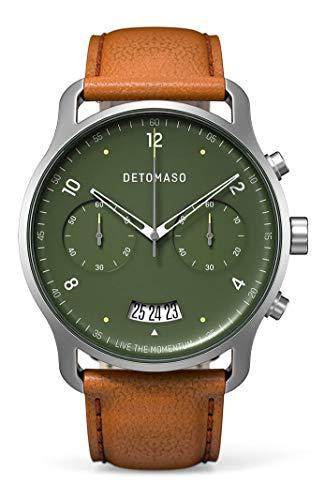 DETOMASO SORPASSO Chronograph Green Herren-Armbanduhr Analog Quarz Italienisches Lederarmband Braun
