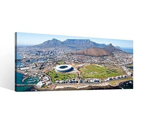 Leinwand 1 Tlg Afrika Kapstadt Skyline Stadt Bilder Wandbild aufgespannt 9B799 Holz - fertig gerahmt - direkt vom Hersteller, 1 Tlg BxH:40x20cm