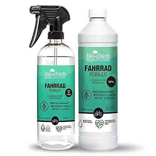 bio-chem Bio Fahrradreiniger | 750 ml + 1000 ml Nachfüllflasche | biologisch abbaubar & materialschonend | Premium Reinigungsmittel für das gesamte Fahrrad | Geeignet für alle Fahrradtypen und E-Bike