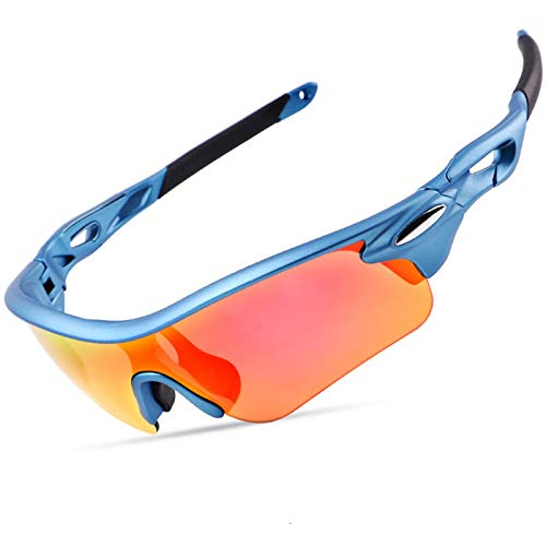 AELEGASN Polarised Sports Sunglasses Cycling Glasses Superlight Frame with 3 Interchangeable Lenses UV400 Protection for Men Women Outdoor Sport Golf Skiing Running Driving,Blue