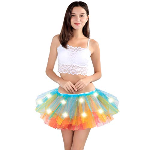 SIPU Women's Classic 5 Layered Tulle Tutu Skirt with Light Up LED Halloween Costumes Tutu (Rainbow)