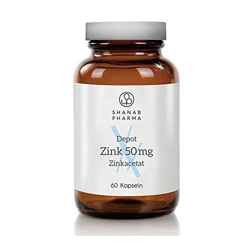 Zink 50mg   (Zinkacetat) Zink-Depot hochdosiert - Shanab Pharma   60 Kapseln   Glasflasche