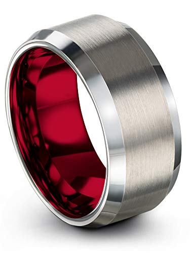 Chroma Color Collection Tungsten Carbide Wedding Band Ring 10mm for Men Women Red Interior with Grey Exterior Bevel Edge Brushed Polished Comfort Fit Anniversary Size 11.5