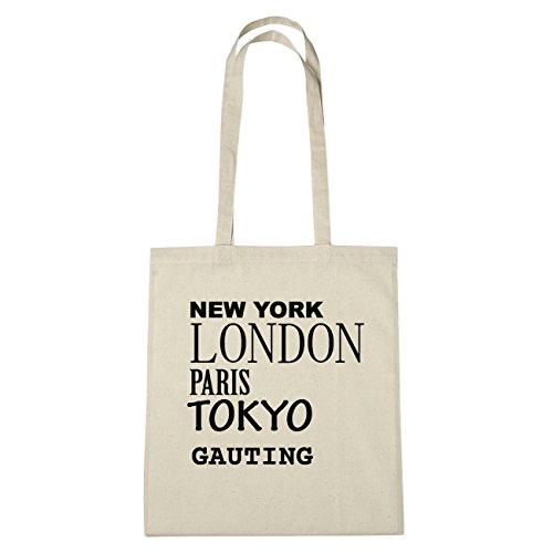 JOllify GAUTING Umwelttasche Jutetasche B1608jute - Farbe: natur: New York, London, Paris, Tokyo