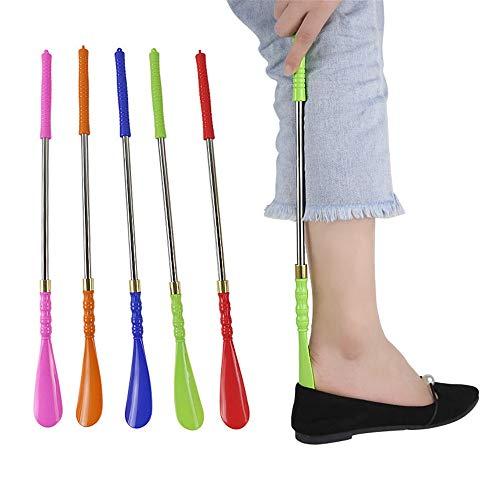 HoGau schoenlepel volwassenen mannen en vrouwen geschikt voor kleuren schoenen trekken kunststof luifel schoenen trekken schoenen trekken (47 cm) lange greep