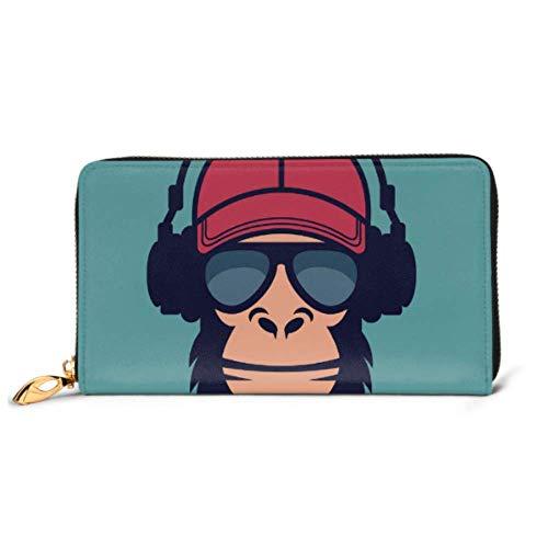 JHGFG Mode Handtasche Reißverschluss Geldbörse Coole Affen Brille Kopfhörer Telefon Kupplung Geldbörse Abendkupplung Blockieren Leder Geldbörse Multi Card Organizer