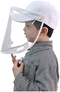 Kids Baseball Cap with Face Shield - white(Adjustable)