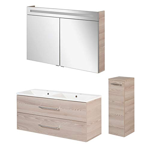FACKELMANN Badmöbel Set B.Clever 3-TLG. 120-150 cm esche mit Waschtisch Unterschrank inkl. Doppel-Gussmarmorbecken & Midischrank & LED Spiegelschrank
