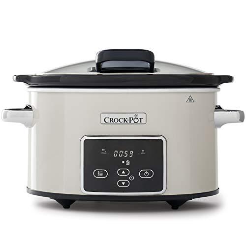 Crock-Pot CSC060X Olla de cocción lenta digital para preparar todo tipo de recetas, 3.5 litros, Mushroom/Cromado
