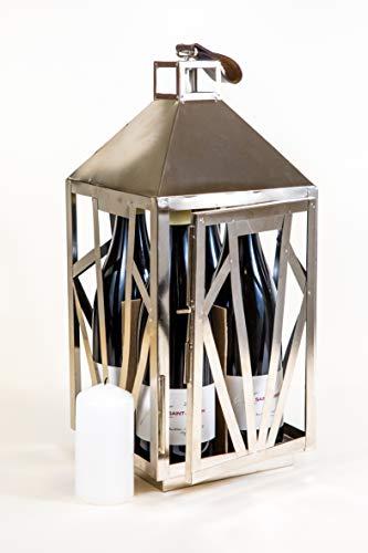 Ludi-Vin Lanterne 4 Bouteilles métal argent Porte