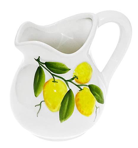 Lashuma Handgemachter Keramik Krug, Milchkanne aus Italienischer Keramik mit Zitronen Reliefdekor, Kännchen Füllmenge 500 ml