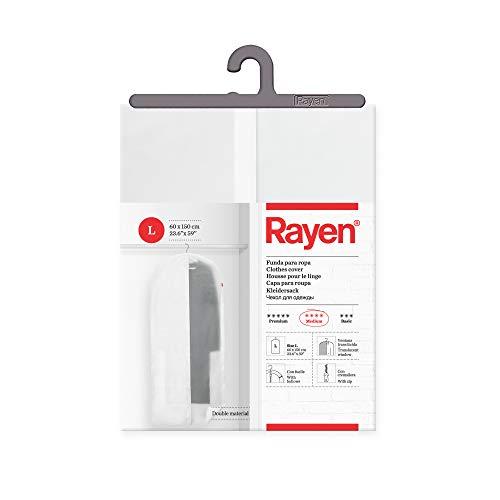 Rayen - Funda de ropa para armario. Funda de traje para percha con cremallera. Cubre vestido resistente al polvo, humedad y polillas. 60 x 150 cm. Blanco Estampado/Translúcido