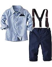 Traje de bebé de 2 Piezas para niños pequeños, Camiseta de Manga Larga + pantalón con Tirantes