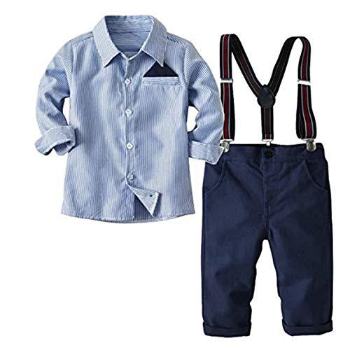 FAIRYRAIN 2-Teiliges Kleinkind Jungen Babyanzug Gentleman Kinder Langarm Hemd + Hose mit Träger Anzug Kleidung Set, Blau, EU:128/134