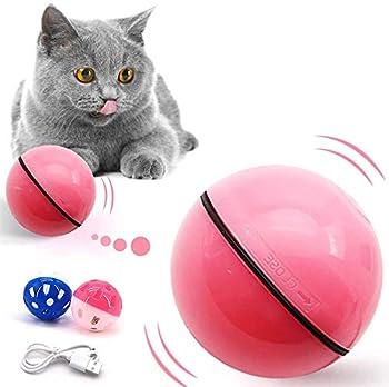 Lifreer Cat Toys Balles 1PC Jouet pour chat pour chats d'intérieur Jouet interactif pour chat interactif Balle auto-rotative automatique et clochettes 2PCS pour chaton Jouets