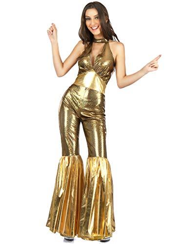 Generique 70er-Jahre Disco-Jumpsuit für Damen Gold S