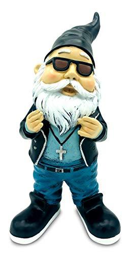 SEWAS Gartenzwerg Rocker Hipster mit Kreuz Kette, handbemalt und wetterfest aus hochwertigem Kunstharz, Hiphop Rap Figur