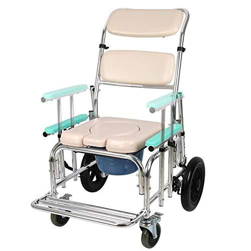SXZZ Toilettenrollstuhl, 4 in 1 Kommodenstuhl Mit Fahrbarem Tragbarem Badezimmerstuhl Toilettensitz Für Behinderte Schwangere Klappbarer Mobiler Toilettensitz Für Ältere Menschen