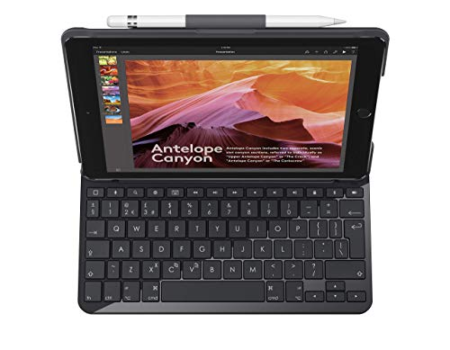 Logitech Slim Folio iPad, Case with Wireless Keyboard and Bluetooth, Compatible with iPad 5th and 6th Generation - QWERTY UK Layout, Black (Renewed)