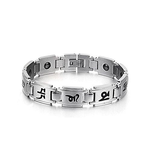 iLove EU Edelstahl Armband Link Handgelenk Hematit Silber Schwarz Tibetischen Sanskrit Om Mani Padme Hum Valentinstag Lieben Paar Partner Set Magnet...